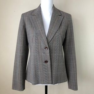 Women's Blazer Size 6 Brown Blue Plaid Jacket